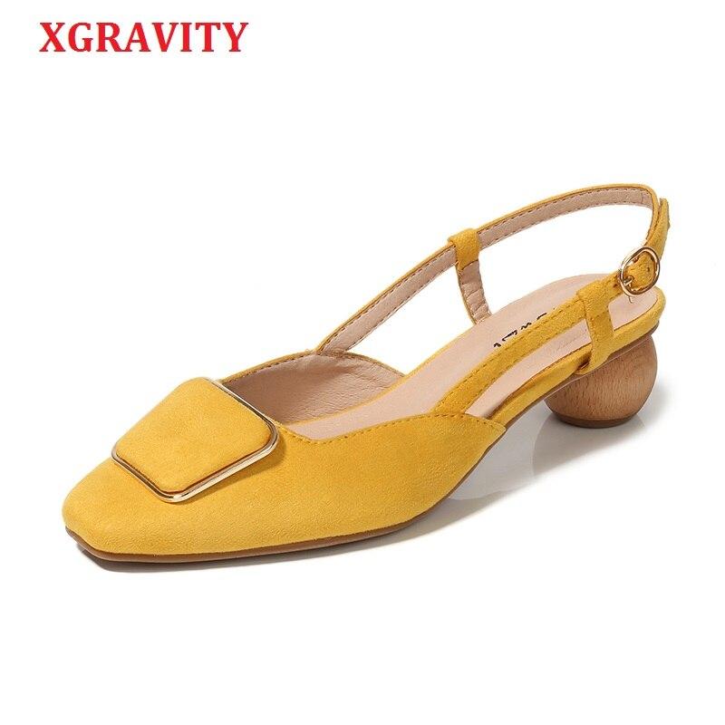 XGRAVITY en cuir véritable talon anormal conception étrange sandales à talons hauts mode femmes Chunky chaussures à bout fermé pantoufles dame B054