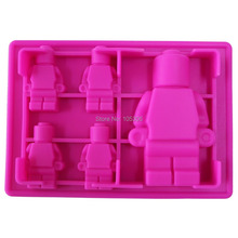 5x Silicone Robot Ice Mold Cream Tools Color Rosyred Tubs Cake Free Shipping