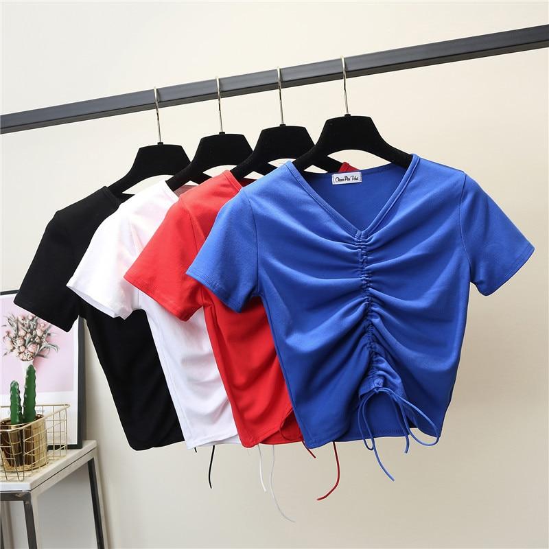 Female Cotton V-neck Drawstring T-Shirt Short Sleeve Neck Summer Casual Solid T-Shirt High Waist Slim T-shirts For Women