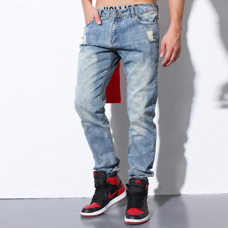 ФОТО PROVERGOD Europe Autumn Street Tide Mens Denim Jeans 2016 Hip Hop Destroy Hole Casual Joggers Pant Classic Kanye Clothes