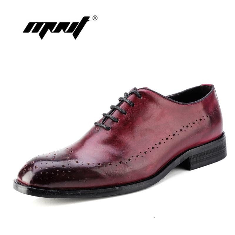 Classic Genuine Leather Men Shoes Whole Cut Plain Oxfords Lace Up Wedding Party Man Dress Shoes