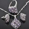 Inusual Amethyst Púrpura Sistemas de La Joyería de Plata Para Las Mujeres Pendientes/Colgante/Collar/Anillos Envío Gratis JS0141