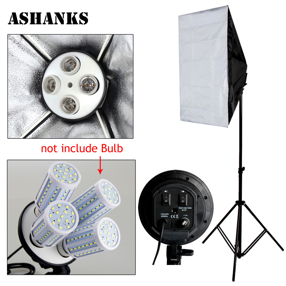 Photo Studio Kit Photography Lighting 4 Socket Lamp Holder 50 70CM Softbox 2m Light Stand Photo