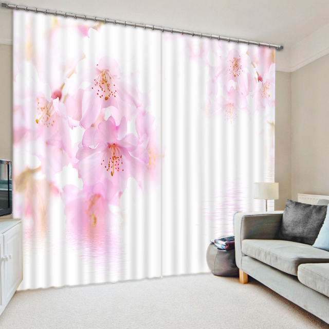 3D curtains modern 3D stereoscopic water peach curtains for living ...
