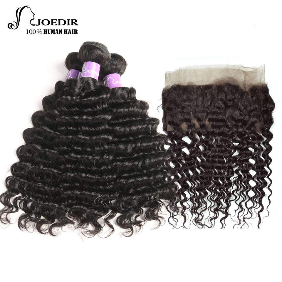 Joedir Malaysia Deep Wave Human Hair Weave 3 Bundles With Lace Frontal Closure 360 Lace Frontal With Bundles Non Remy