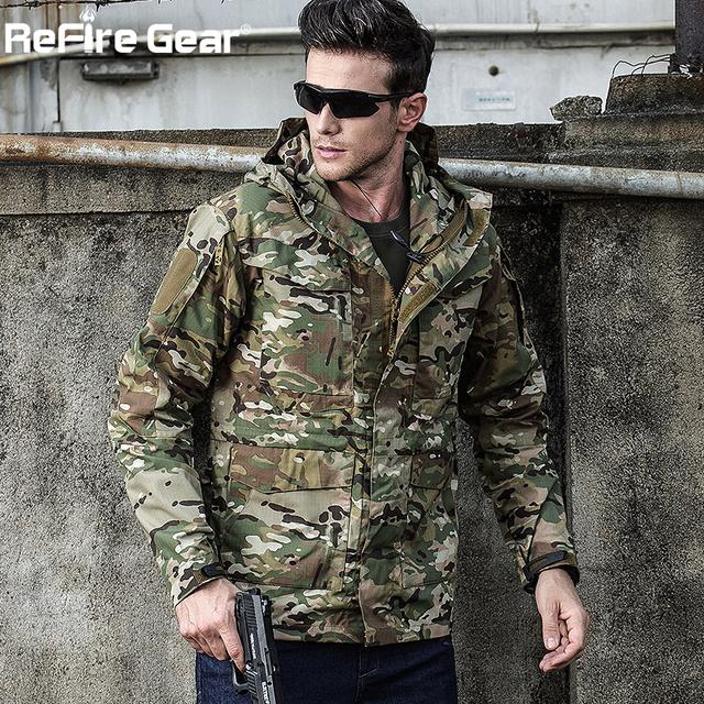 ReFire Gear Army Field Tactical Jacket Men Waterproof Rip-stop Camouflage Military Jackets Autumn Multi-Pockets Windbreaker Coat