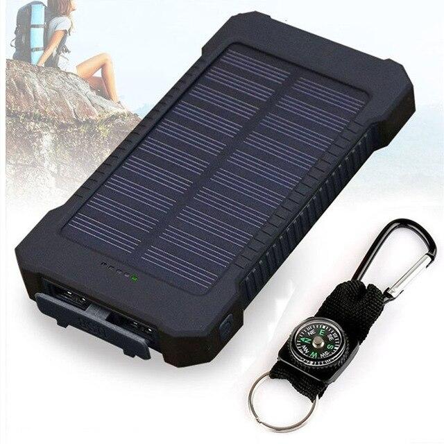 20000 mAh banco de energía Solar Dual USB powerbank impermeable batería externa Portable de carga con luz LED 2USB poverbank