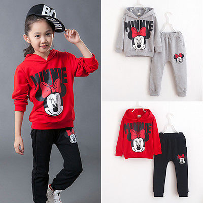 2pcs Baby Girls Kids Minnie Mouse Clothes Set Long Sleeve Hooded Coat Pants Oufits Clothes Set 2-7y #2