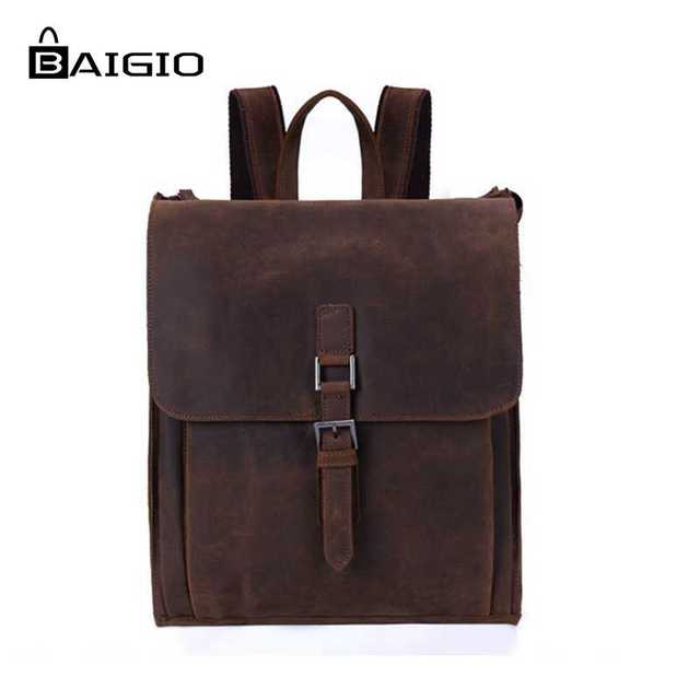 Baigio Men Fashion Leather Bag Backpack S Vintage Style Brown Satchel 14 Laptop