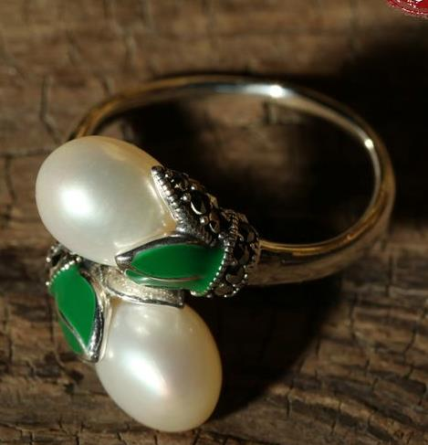 Pure silver jewelry LAOYINJIANG handmade thai silver enamel pearl vintage Women ring FREE SHIPPING