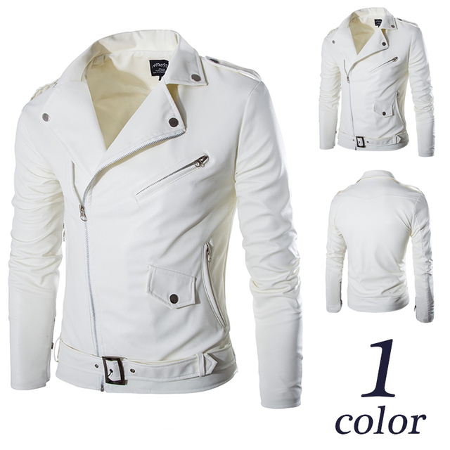 2015 New fashion men motorcycle jacket PU leather jacket slim fit casual outerwear white color size M L XL XXL Free Shipping