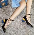 2017 Весна Новый Дизайн Обуви Женщина Мягкая Кожа Смешанный Цвет толстые Каблуки Женщины Насосы Узелок Мода Zapatos Mujer Свадебные обувь