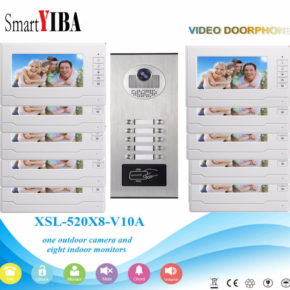 SmartYIBA Video Intercom Wired 7Inch Monitor RFID Access Control Video Intercom Door Phone Doorbell System For 10 Unit Apartment smartyiba home security 7inch monitor video intercom door phone system outdoor rfid access doorbell camera for 5 apartment
