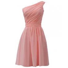 Cheap Pink Bridesmaid Dress One Shoulder Pleats Knee Length Chiffon High Quality Maid of Honor Dress