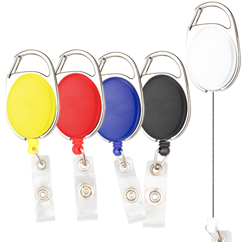 10pcs/lot Retractable Pull Badge Reel Zinc Alloy ABS Plastic ID Lanyard Name Tag Card Badge Holder Reels купить