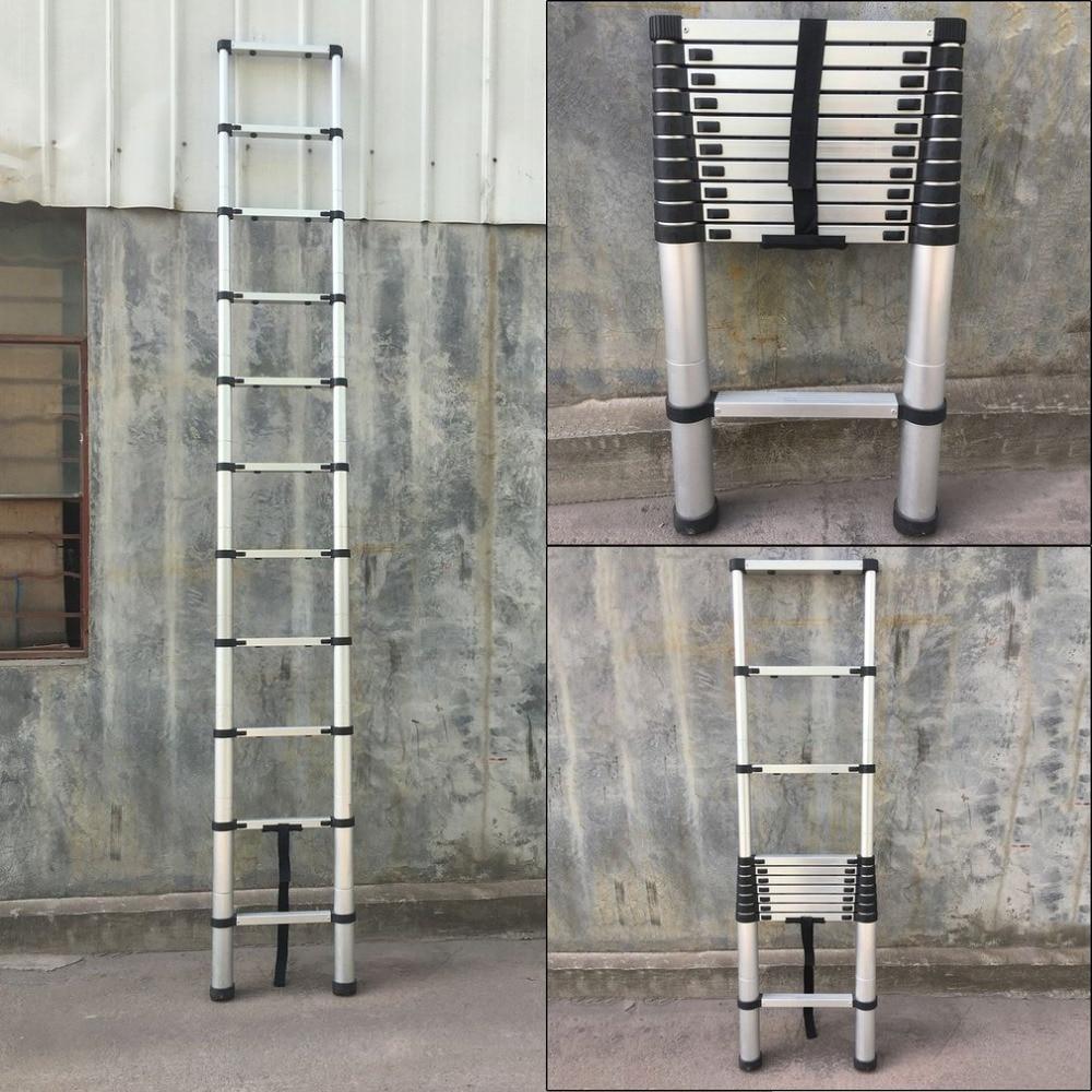 цена на (Ship From DE)Length 3.2M Thickening Aluminum Retractable Ladder Multifunctional Folding Single Telescopic Ladder Home Tool