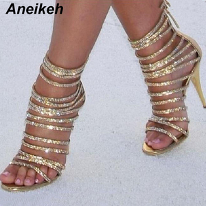 Aneikeh Bling Bling Gold Crystal Sandals Thin Strappy Gladiator Sandal Shoes Stiletto Heel Wedding Pumps Rhinestone Cage Sandal(China)