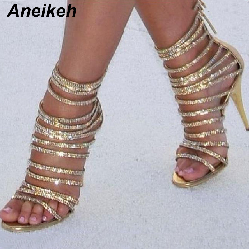 Aneikeh Bling Bling Gold Crystal Sandals Thin Strappy Gladiator Sandal Shoes Stiletto Heel Wedding Pump Rhinestone Cage Sandal