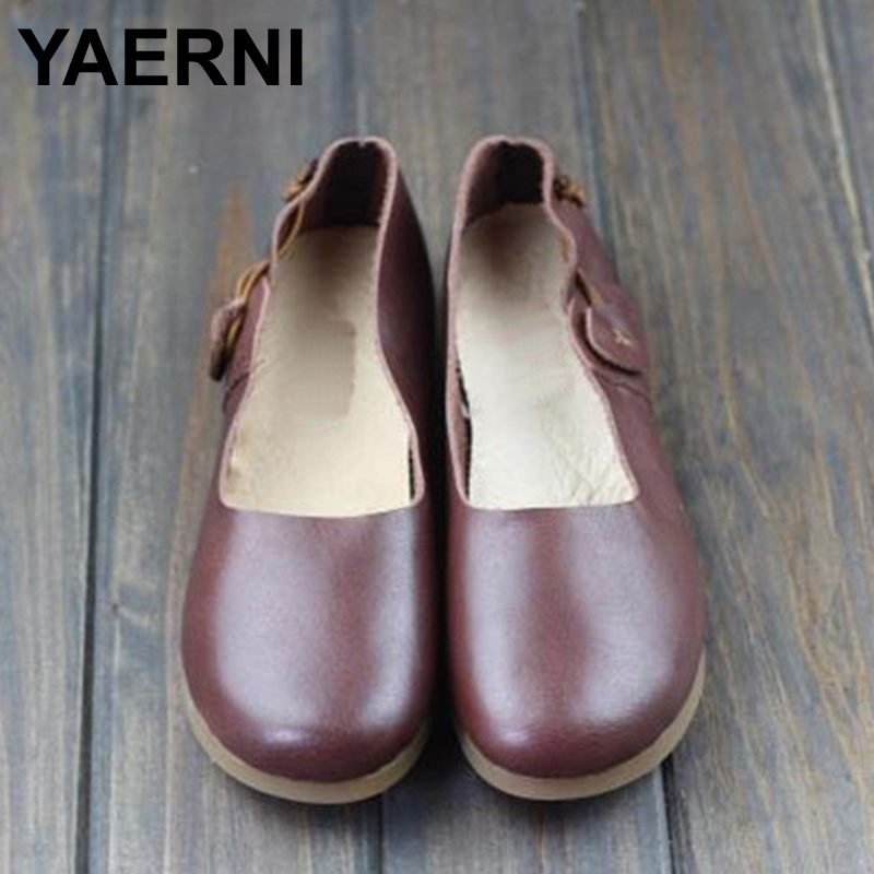 YAERNI Women Flat Shoes 1005 Genuine Leather Ballerina Flats Round toe Slip on Ballet Flats Spring/Autumn Footwear plus size stylish round neck short sleeve laciness loose t shirt for women