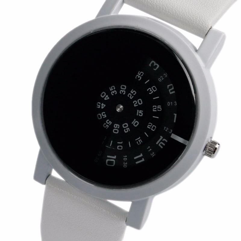 10f302d62f34f Mode Horloge Unique Platine Blanc bracelet en cuir Bracelet Montre-Bracelet  Creative Cadran Sport En Plein Air montres à quartz Pour Unisexe