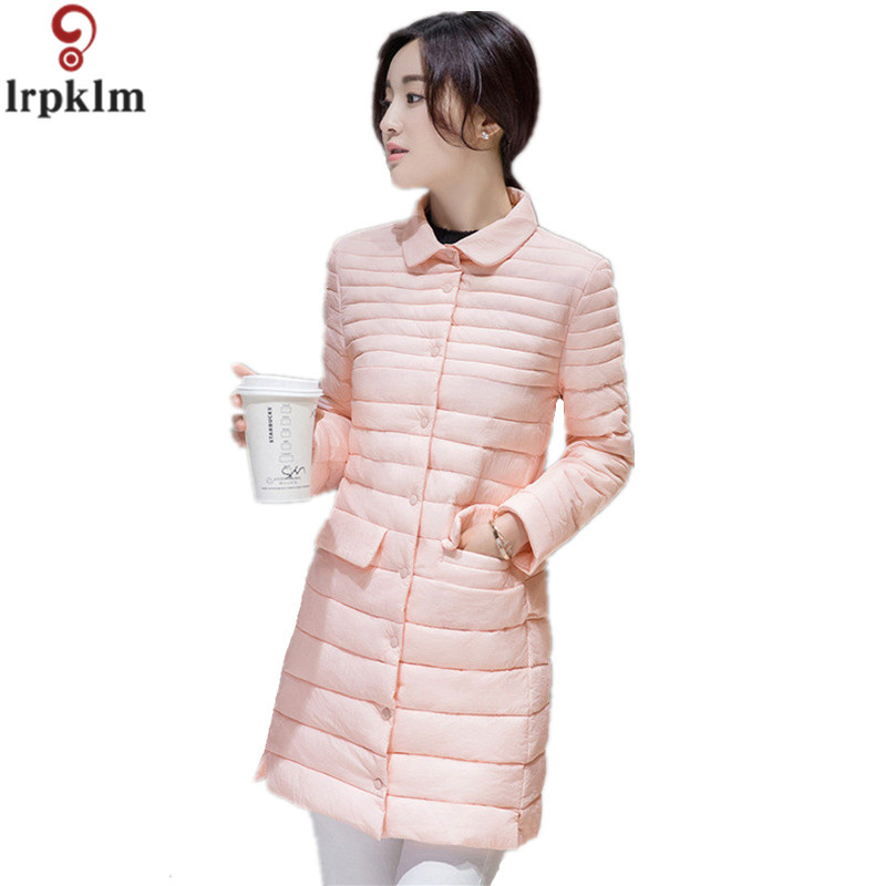 Winter Padded Jacket Women 2017 New Covered Button Light Cotton Coat Long Section Thin Plus Size Pink Parkas LZ208 bar iii new light pink women size small s tiered long sleeve cropped blouse $69