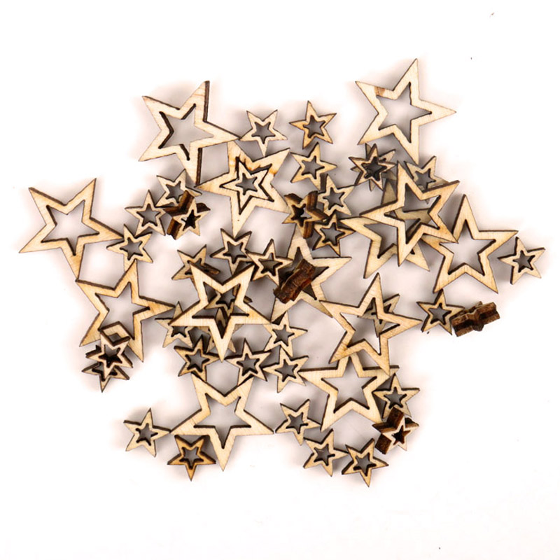 Wooden Hollow Star Shape Scrapbooking Embellishments Craft Handmade Home Wedding Decoration Accessory DIY 10-20mm 50pcs MZ256