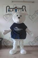 Костюм высокого качества синяя рубашка белого медведя костюмы мультфильм животных ходить действовать белый медведь Маскировка OEM логотип