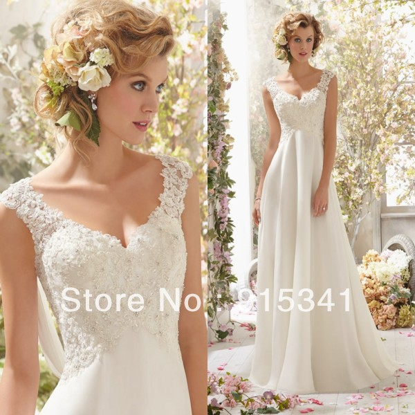 Cheap Maternity Wedding Dresses: Elegant Stylish A Line V Neck Lace Beadings Chiffon Cheap