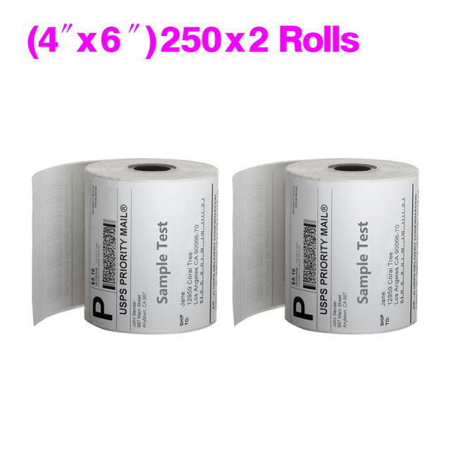 2 rolls direct thermal labels for zebra sato tec printer 4 x 6 white