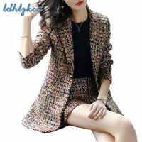 Women Suit Plus Size Long Blazer and Mini Skirt Two Piece Suits 2018 Autumn Winter Korean Casual New Fashion Suit Feminino LD95