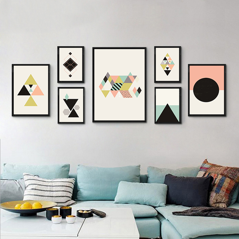 Nordic Canvas Painting Abstract Geometry Wall Art Home ...