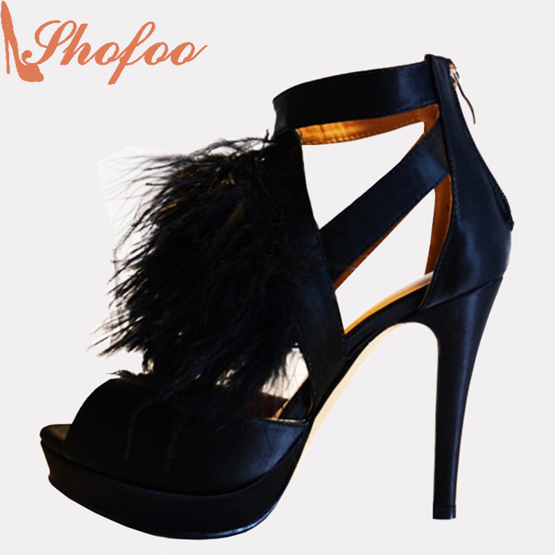 ФОТО Shofoo 2017 Women Sandals Sexy Blue High Heels With Feather Decoration Waterproof Table Spike Zipper Shoes ,Large Size 4-16