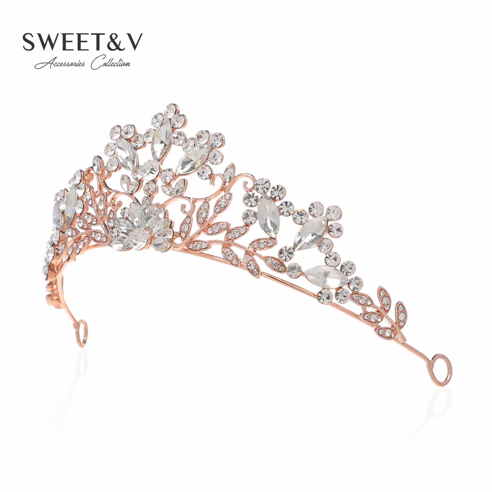 Rose Gold Silver Crystal Tiara Bridal Crown Prom Hair Jewelry