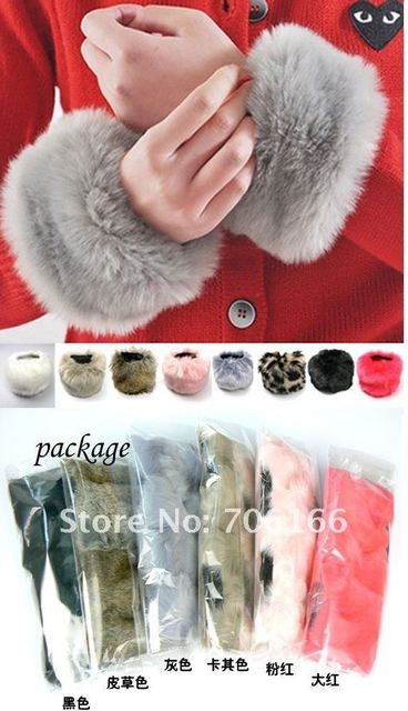 The girl's oversleeve,Faux Fur rabbit wool wristband,color can Mixed,CBRL promtion see+EMS/DHL free shipping