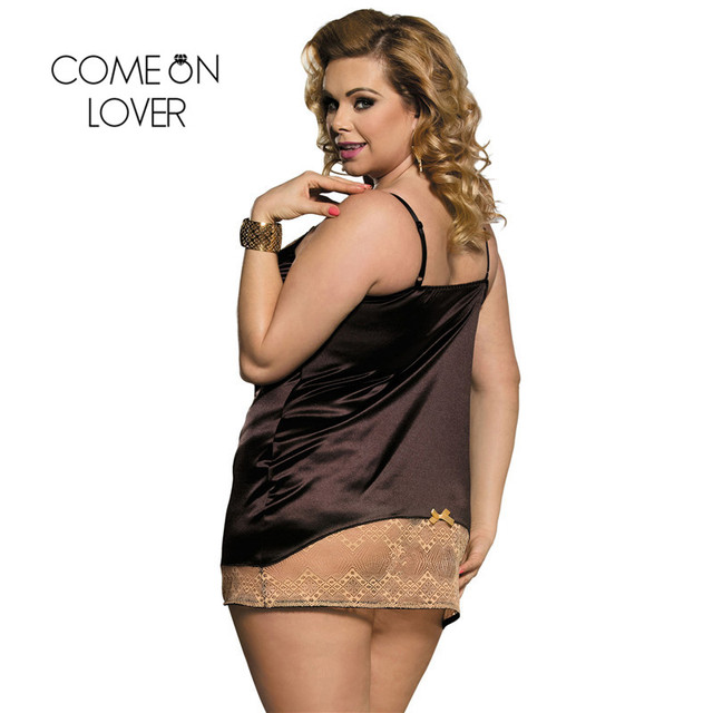 Comeonlover Intimo Donna Sexy Hot Gold Lace Brown Satin Chemise Underwear Plus Size Costume Sleepwear Babydoll Lingerie RI80352 3