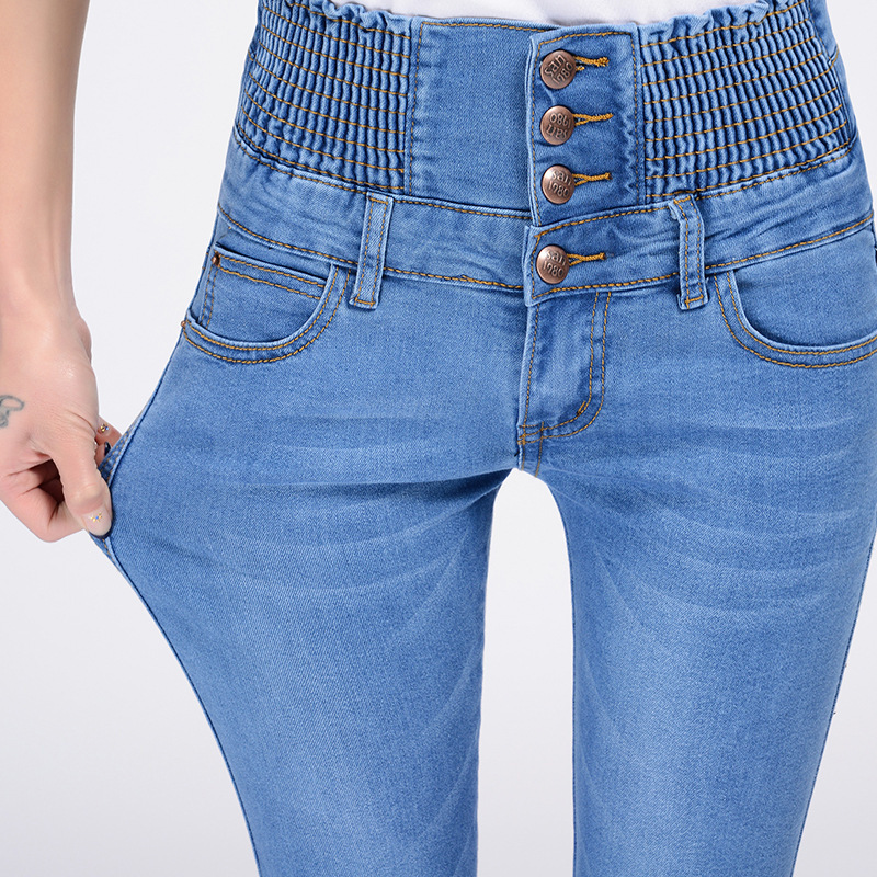 Summer High Waist Jeans Plus Size Skinny Capris Jeans Woman Ladies Stretch Knee Length Denim Shorts Jeans Pants female