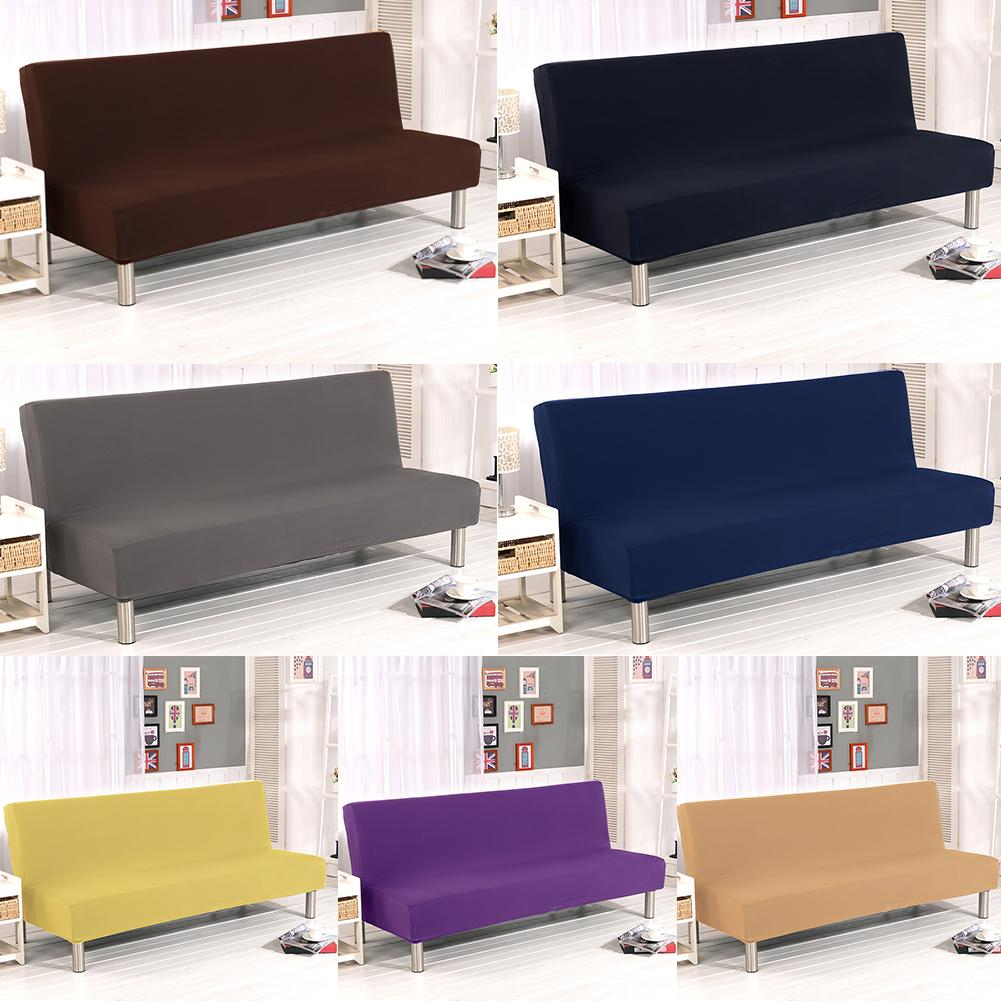 Einfarbig Alle-inclusive Folding Stretch Sofa Bett Sofa Abdeckung Protector Schutzhülle ohne Armlehnen
