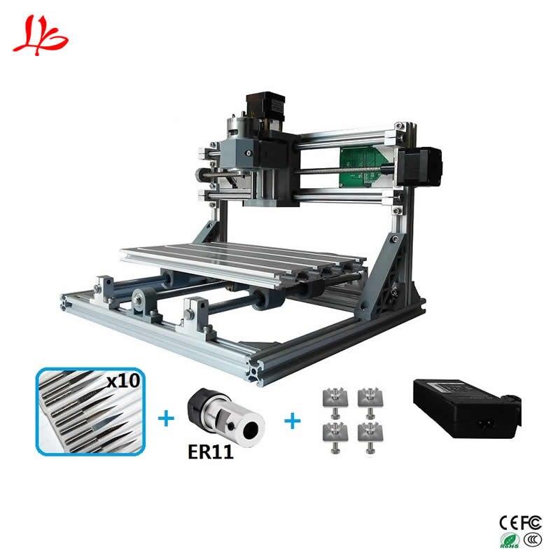 CNC 3018 mini bois routeur avec ER11 bricolage CNC Machine de Gravure Laser Graveur GRBL contrôle 10 pièces forets