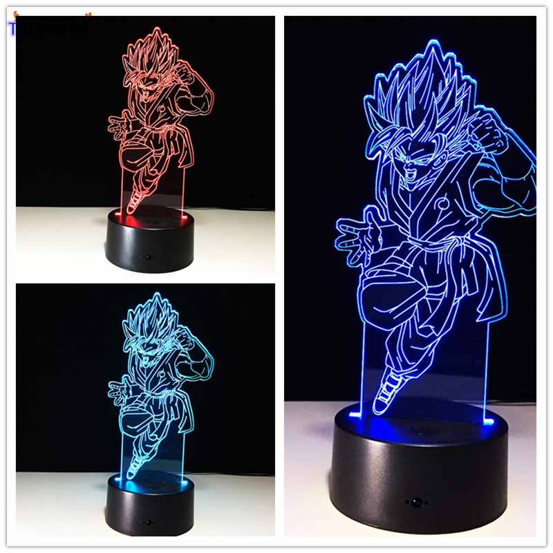 Tobyfancy Dragon Ball Z Figure 3D Led Table Flash Goku Fly Effect Colorful Visual Illusion Remote Control USB Lamp