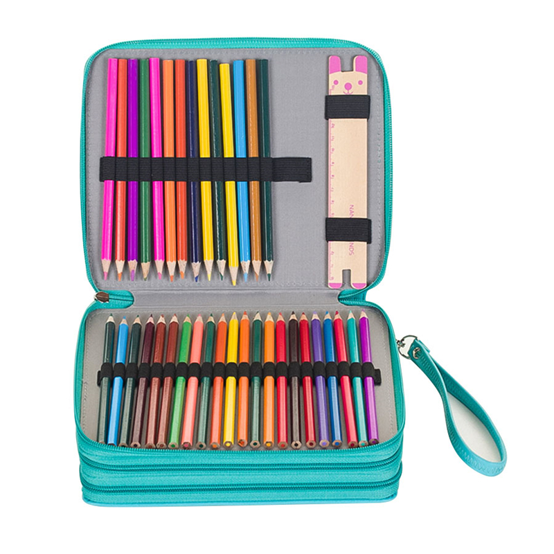 120 Holes 3 Layers School Pencil Case PU Leather Large Sketch Pencilcase Art Pen Bag Multifunction Penalty Pouch Box Supplies
