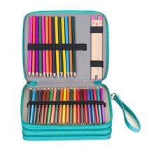 120 Holes 3 Layers School Pencil Case PU Leather Large Sketch Pencilcase Art Pen Bag Multifunction Penalty Pouch Box Supplies sketch school pencil case 72 holes penalty pencilcase large zipper pen bag four multi layers boy girls set box stationery pouch