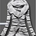 2017 Mujeres de Invierno, Además de Terciopelo Espesar Cálido Gris Color Encapuchado de la Rebeca Femenina Chaqueta de la Capa Ocasional prendas de Vestir Exteriores