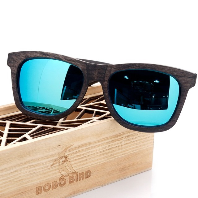 BOBO BIRD New Desgin Men's Sunglasses Original Wooden Sunglasse Casual Polarized Lens Sunglasses for Men With Wood Gift Box 2017