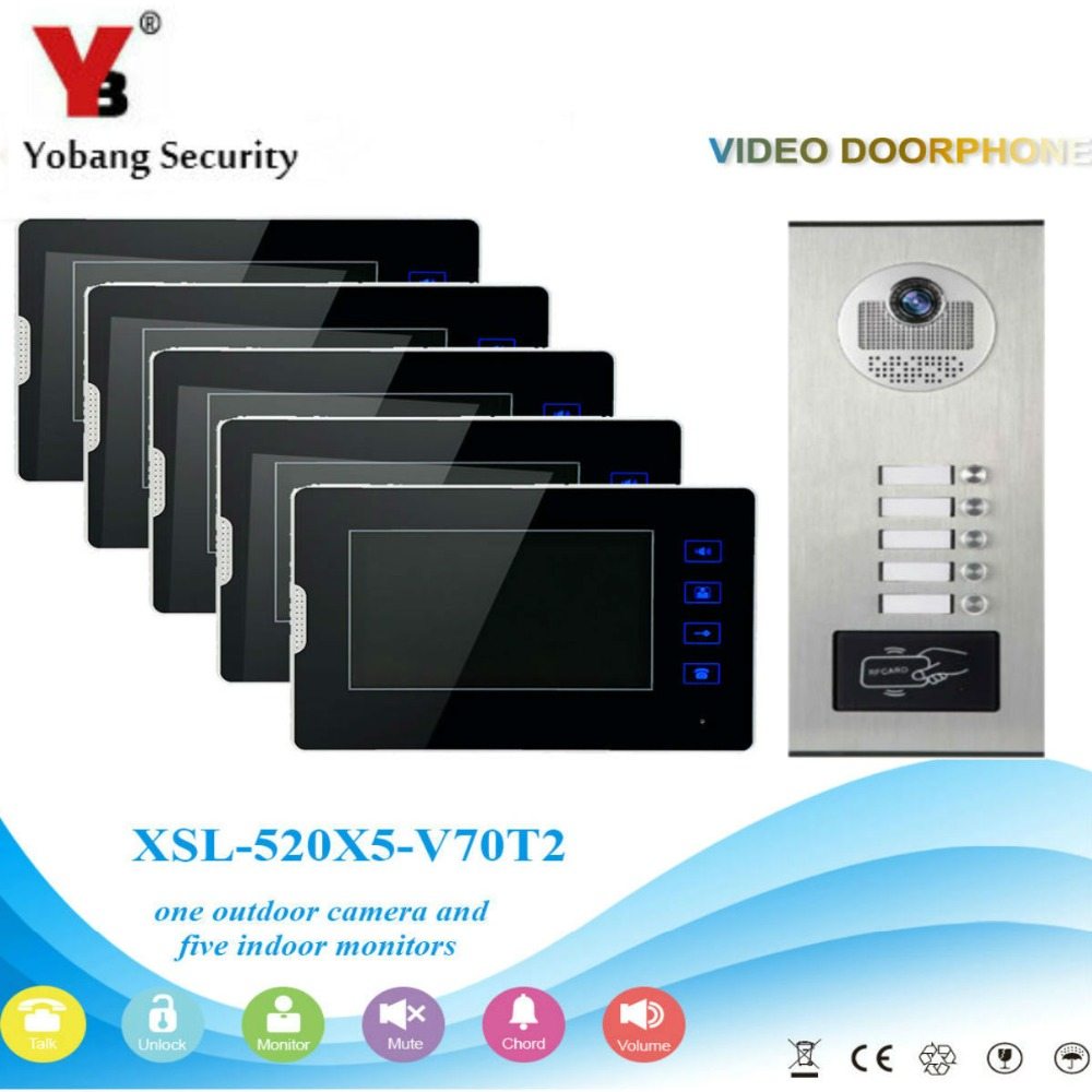 YobangSecurity Video Intercom 7Inch Video Door Phone Home Doorbell Intercom System RFID Access Door Camera For 5 Unit Apartment