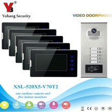 YobangSecurity Video Intercom 7″Inch Video Door Phone Home Doorbell Intercom System RFID Access Door Camera For 5 Unit Apartment