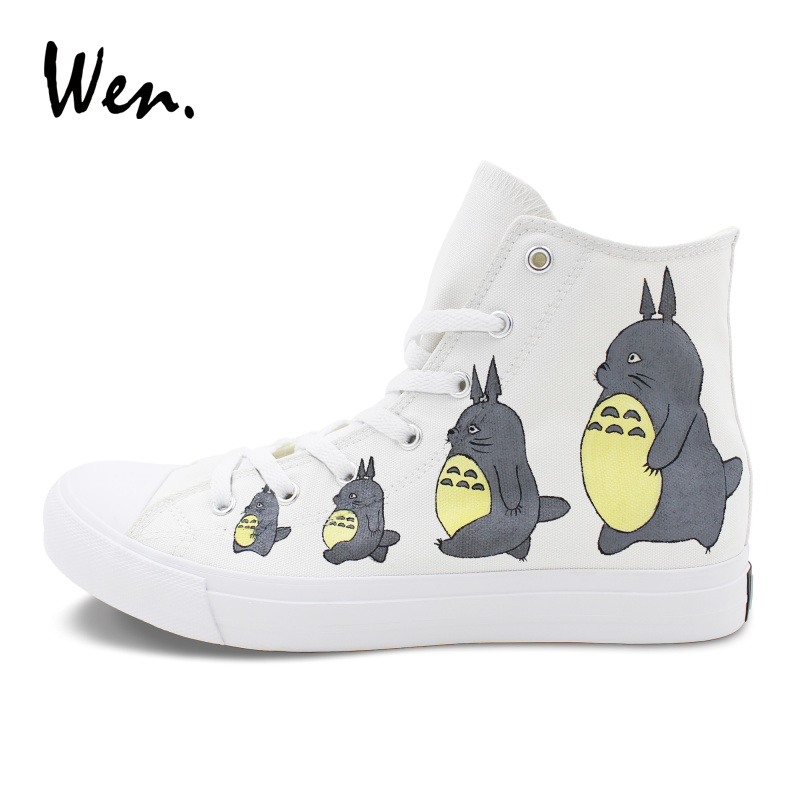 Wen Men Women Anime Shoes Custom Hand Painted Shoes My Neighbor Totoro Design Cartoon Sneakers High Tops Flat Skate Shoes wen men women sneakers white anime design tokyo ghouls hand painted canvas shoes classic athletic sport skate flat