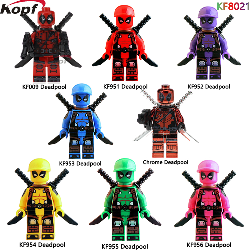 KF8021 Super Heroes Green Pink Yellow Blue Orange Red Deadpool Bricks Christmas Building Blocks Education For Children Gift Toys single sale super heroes red yellow deadpool duck the bride terminator indiana jones building blocks children gift toys kf928