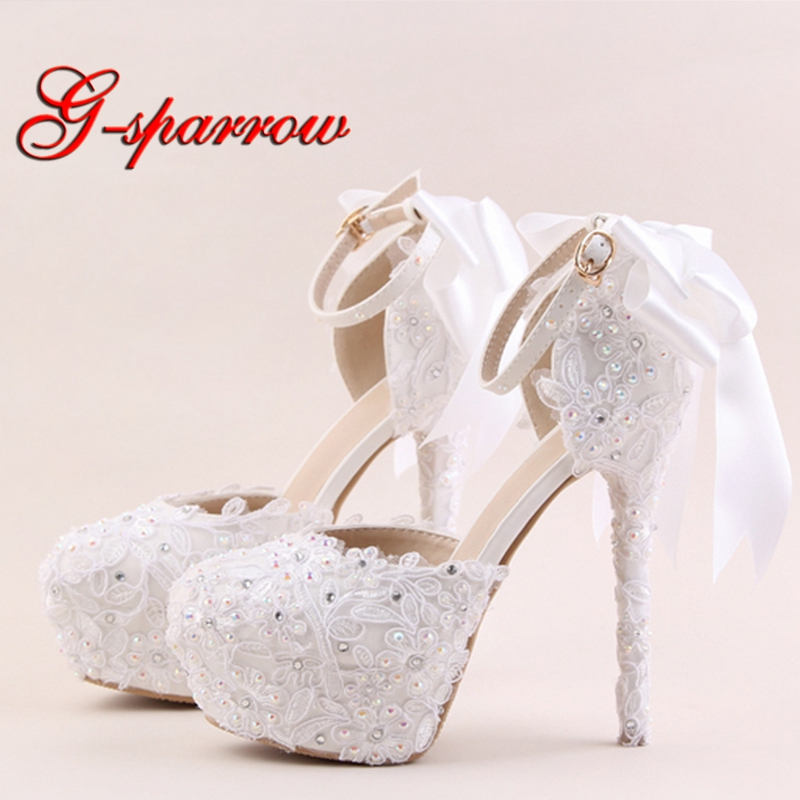 2018 White Lace Flower High Heel Shoes Round Toe Bridal Dress Shoes AB Rhinestone Ankle Straps