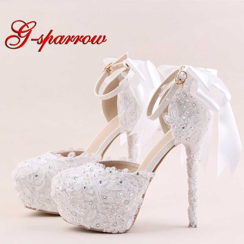 2018 White Lace Flower High Heel Shoes Round Toe Bridal Dress Shoes AB  Rhinestone Ankle Straps 80ff16609d3f