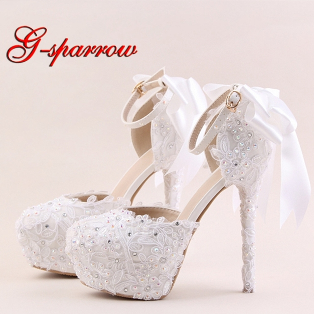 9a652c61126 2018 White Lace Flower High Heel Shoes Round Toe Bridal Dress Shoes AB  Rhinestone Ankle Straps Beautiful Wedding Party Sandals